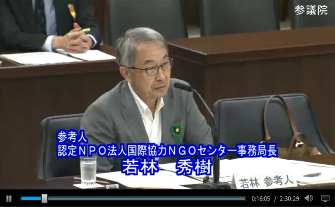 参議院ODA特別委員会で、若林が提言。「NGOを政府の戦略的パートナーに」
