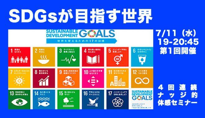 7/11(水)4つの視点を通して見るSDGsが目指す世界 ナッジ的SDGs体感セミナー第1回